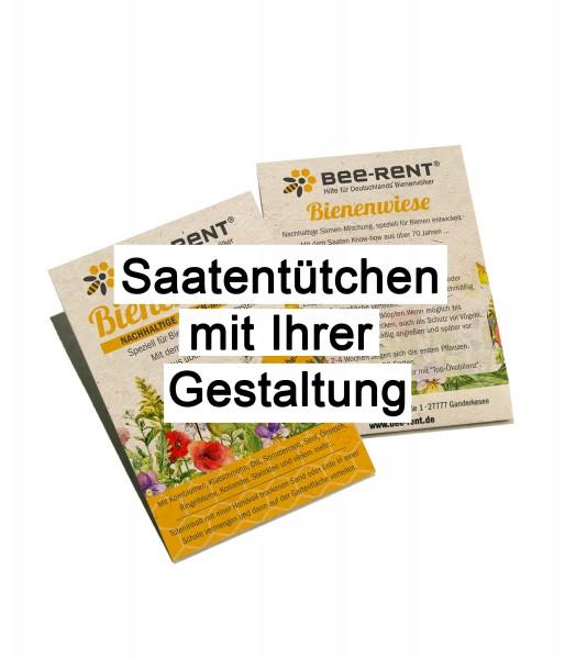 Saatentütchen mit Ihrer Werbung/Gestaltung, gefüllt mit einer Bienen und Insekten Blühmischung